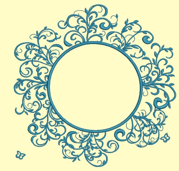 Round Frame Floral Ornament Machine Embroidery Designs