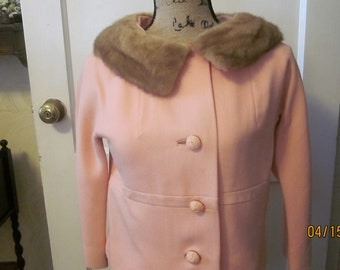 2 Piece Pink Suit with Mink Collar