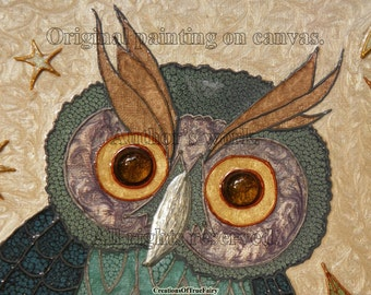 Owl wall art Owl decor Animal original acrylic painting on canvas Decorative owl Best gift ideas Gifts for men who have everything