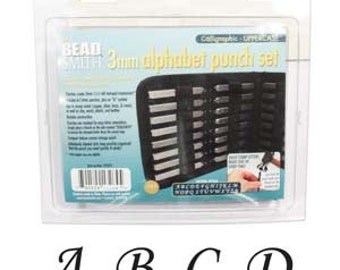3MM Calligraphic punch set, hand stamping, metal stamping, choose upper or lower case!