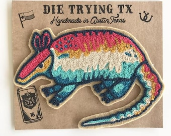 Neon Armadillo Chain-Stitch Embroidered Felt Patch - Iron on Patch, Handmade