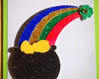 Lucky Handmade St. Patrick's Day Card featuring a Glitter Rainbow and Pot of Gold!