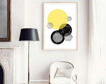 Geometric print, Circle print, Yellow wall art, Marble print, Marble wall art, Scandinavian art, Minimalist poster, Large wall art, Abstract
