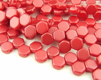 30x Czech Honeycomb Beads 6mm Hexagonal 2 Hole Pastel Dark Coral