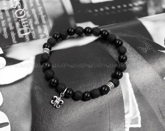 Dangle Fleur de lis 925 sterling Silver Bracelet, Black onyx beaded Bracelets
