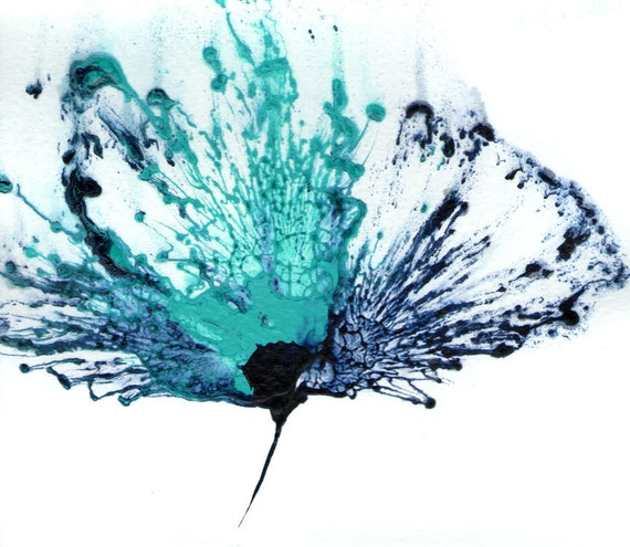 Items Similar To Teal Purple Abstract Flowers Wall Decor: Blue Flower Painting Wall Art Abstract Teal Artwork