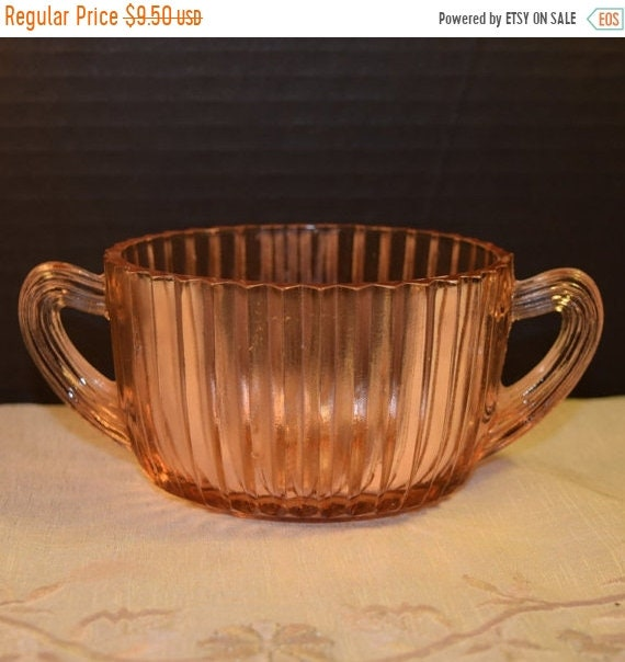 Delayed Shipping Anchor Hocking Queen Mary Pink 2 handled Sugar Bowl Vintage Pink Depression Glass Ribbed Sugar Dish Shabby Chic Serving War