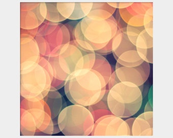 Bokeh Photo, Concentric Circles Art, Abstract Art, Twinkling Lights Photo, Christmas Lights Photo, Peach Cream Wall Art, Dreamy Photo Print