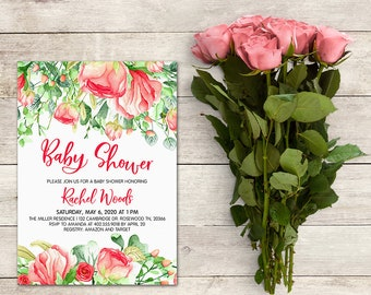 Baby Shower Invitation, Baby Girl Baby Shower, Watercolor Floral Invitation, Southern Floral Baby Shower Invitation, It's a Girl, Spring