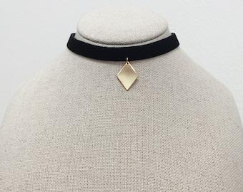 Black Choker, diamond pendant, metal pendant, simple necklace, Black Velvet Choker