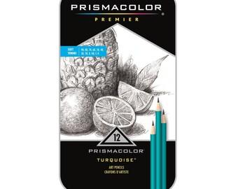 Prismacolor Premier 12 Pencils Turquoise Soft Grade Graphite Pencil Set; Drawing, Sketching Prismacolor Pencils, Arts Crafts
