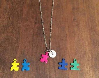 Autism Awarness Necklace- Initial Austism Necklace- Puzzle Piece Necklace- Colorful Autism Jewelry- Initial Jewelry- Autism Jewelry- Initial