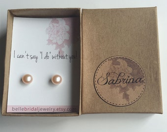 Pearls bridesmaid gifts jewelry, i cant say i do, be my bridesmaid gift for friend, stud earrings sets