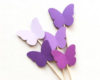 24 Purple Butterfly Cupcake Toppers, Spring Party Decor, Weddings, Showers, Birthdays, Sofia the First, Princess Party, Summer, Nature