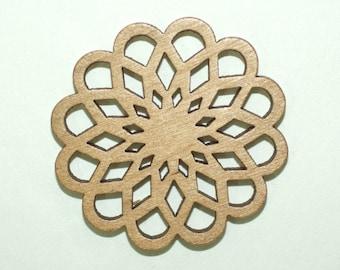4 Wooden Flower Pendants included 40 mm