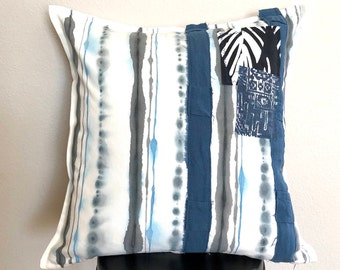 Hand Painted Striped Indigo and Black pillow cover