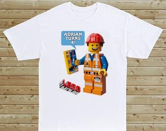 Lego Movie Custom Birthday T-Shirt - Boy