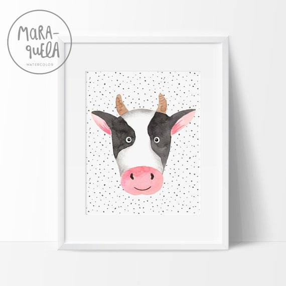Lámina Vaca Petra / Watercolor Cow for baby and kids