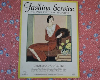 Vintage 1920s Fashion Service Magazine Fall & Winter 1929 - Woman's Institute of Domestic Arts,  sewing and fashion trends