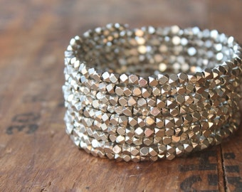 Paris Sparkly Silver Memory Wire Cuff Bracelet with Faceted Thai Beads - Glittering Holiday Bling - Also Available in Gold, Copper and Brass
