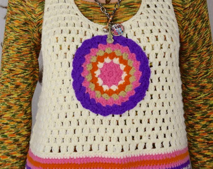 Vintage 1970's Women's Psychedelic Crocheted Neon Colorful HiPPiE MOD Sweater Vest Size M