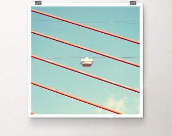 Bright Spot - Fine Art Print Photography Photo Summer sky cable blue orange cloud lamp street bridge