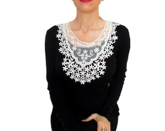 Ivory Cream Victorian necklace, Floral Statement Bib Necklace Collar, Tulle necklace, Beige, Cream, Happy Jewelry, Gothic