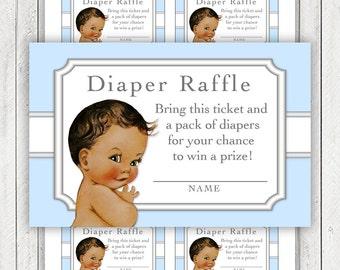 Boys Diaper Raffle Ticket Ethnic Boy Blue Diaper Raffle Tickets Baby Blue Silver Gray Diaper Raffle Tickets