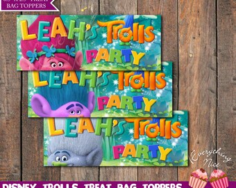 Trolls Theme Birthday Treat Bag Toppers