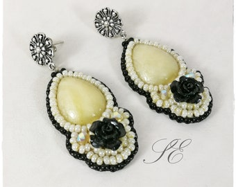 Fimo drop earrings, beaded earrings, yellow and black earrings, bead embroidery earrings, handmade earrings