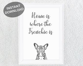 French Bulldog Printable - French Bulldog Gift - Frenchie Print - Dog Breeds Print - Bulldog Art - Dog Owner Gift - French Bulldog Decor