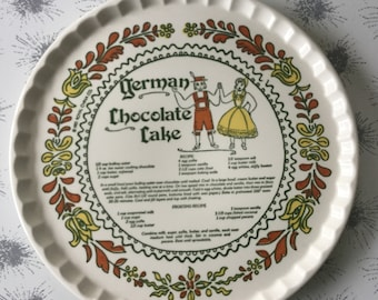 Vintage 1980's German Chocolate Cake Platter and Recipe