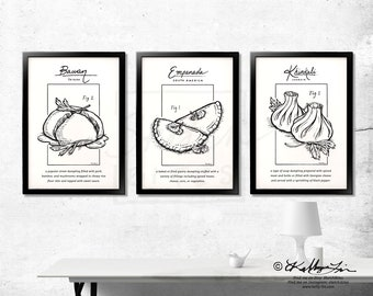 Set of 3 Black and White Dumpling Linework Illustration. Unframed Original Pen and Ink Drawing. B&W Art Print Decor.