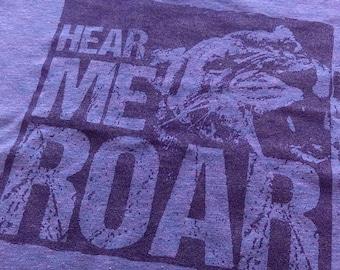 "WOMEN'S FEMINIST UNISEX ""Hear Me Roar"" T-shirt Equal Rights Equality Political Activist Purple Violet Short Sleeve Triblend Tee"
