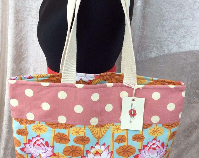 Handmade tote shoulder bag shopping day bag fabric shopper Philip Jacobs Kaffe Fassett Lotus Flowers