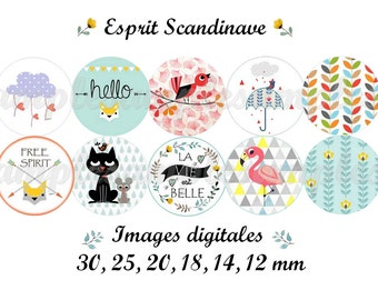 Digital collage sheet Scandinavian Flowers.  1 inch circles and more... Folk nordic cupcake toppers floral images for modern jewelry.
