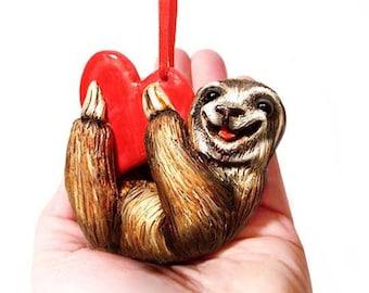 Valentine Sloth Ornament, Valentine Ornament, Valentines Day Gift, Valentines Decor, Heart ornament, Be Mine, Happy Valentines Day