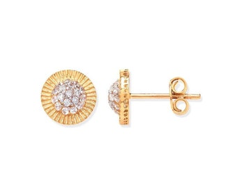 9ct Yellow Gold 8mm Sunburst Cz Cluster Stud Earrings Hallmarked