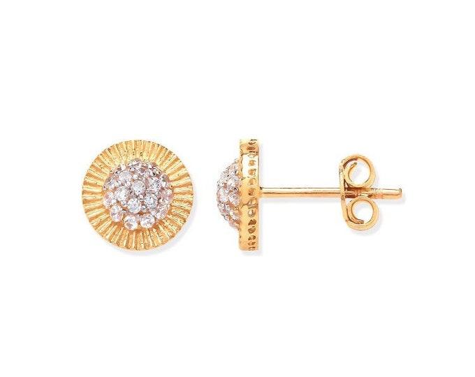 9ct Yellow Gold 8mm Sunburst Cz Cluster Stud Earrings Hallmarked