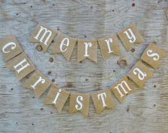 CHRISTMAS DECORATION VINTAGE in Burlap, Natural Burlap Christmas Banner, Christmas Garland, Christmas Decoration