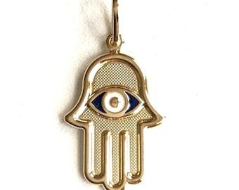 18K gold filled hamsa evil eye pendant / dije de mano y ojo