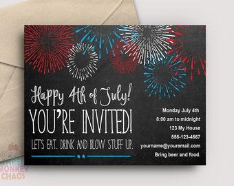 PRINTABLE 4th of July Invite | July 4th Invitation | Firecracker Invite | Fireworks Card | Birthday Invite | Editable PDF | Instant Download