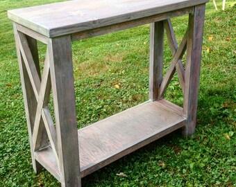 Custom Built X End Console Table, Rustic Console Table, Built to Size, Console Table with Shelf, Sofa Table, Entryway Table, Farm House