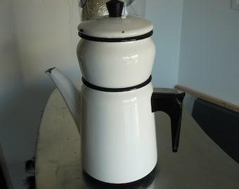 old white enameled coffee