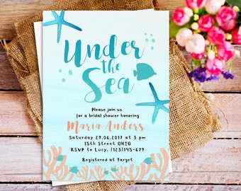 Etsy your place to buy and sell all things handmade under the sea invitation under the sea baby shower invitation coral starfish bridal filmwisefo
