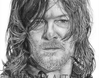 PRINT: Daryl Dixon drawing
