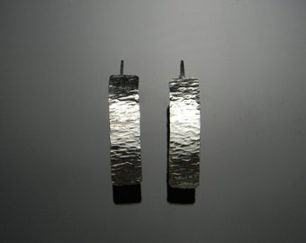 Modern Sterling Silver Dangle Earrings, Hammered Silver Earrings, Sterling Silver Earrings, Contemporary Earrings, Hammered Earrings