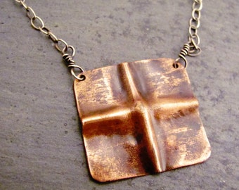 Copper square necklace - fold form copper necklace - copper cross necklace - rustic copper necklace - 16 inch copper necklace - gift for her