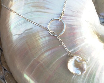 Lariat Style Necklace with Freshwater Pearl