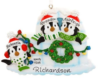 Personalized Igloo With 3 Penguins Ornament